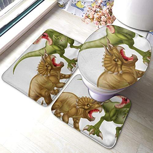 LUCKY Home Juego de alfombrillas de baño de 3 piezas, diseño de dinosaurios de color