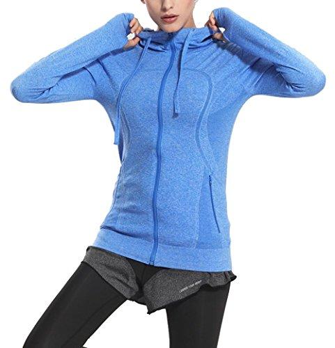 Asingeloo Women's Lightweight Thumb Holes Yoga Jacket Running Gym Hoodie Blue Medium