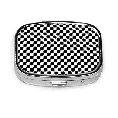 Negro y blanco distorsionar a cuadros personalizado moda plata cuadrado píldora caja medicina tableta titular cartera organizador caso para bolsillo o monedero