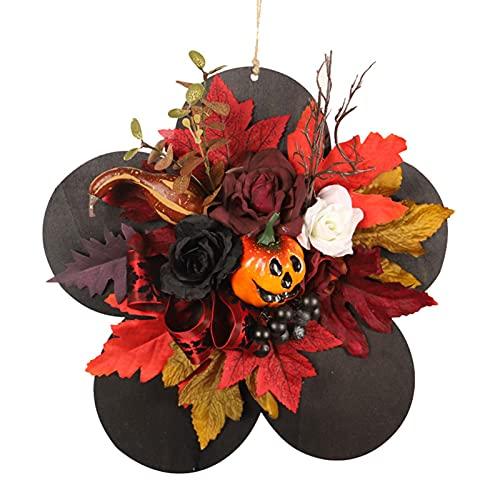 Halloween Hängende Willkommensschild, Simulation Kürbis Haustür Wandbehang, Holz Türhänger Mit Rosen, Ahornblätter, Schwarze Beeren, Halloween Geistergesicht Dekoration