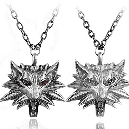 The Witcher3Wild Hunting Three Picture Game Collar De Cabeza De Lobo The Witcher3Aleación De Zinc Wolf Head Colgante Collar De Hombre
