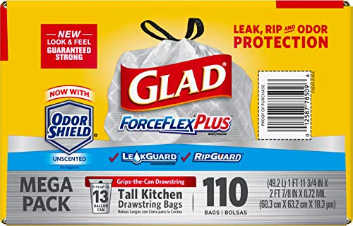 Glad Tall Kitchen Drawstring Trash Bags – Forceflexplus 13 Gallon White Trash Bag, Odorshield – 110Count (Package May Vary)