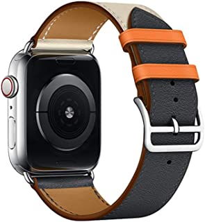 18 Color Compatible Replacement for Apple Watch Band 44mm 40mm 42mm 38mm Series 5 4 3 2 1 Single Tour Replace for Apple Watch Band Leather Band Indigo Blue Powder White(38/40)