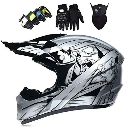 Casco de motocross con gafas/guantes/máscara, casco protector de cara completa para MTB Downhill Quad Enduro, casco de moto
