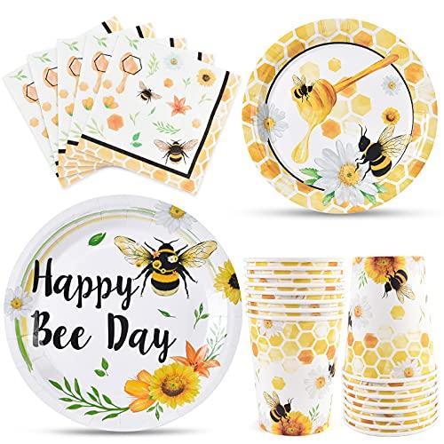 WERNNSAI Bienen Geburtstags Geschirr Set - Biene Partyzubehör für Kinder Mädchen Bienen Geburtstags Feier Baby Dusche Teller Tassen Servietten für 16 Gäste 64 Stücke