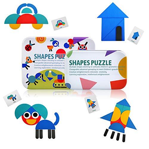 LEADSTAR Rompecabezas de Madera Bloques de Madera, Tangram Puzzle Tangram Madera Shape Puzzle Set 36 Montessori Forma Geométrica Bloques de Patrones + 60 Piezas Tarjetas de diseño