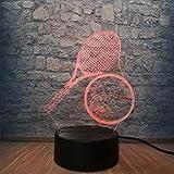 Luz nocturna luz de juego de visión estéreo 3D atmósfera USB creativa lámpara de mesa tenis deportivo con control remoto luz de noche creativa