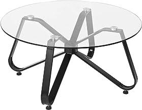 FurnitureR جولة مقسى الزجاج القهوة طاولة الشاي نهاية أريكة غرفة المعيشة الجانبية D31.5 بوصة × ارتفاع 15.6 بوصة، تصميم السا...