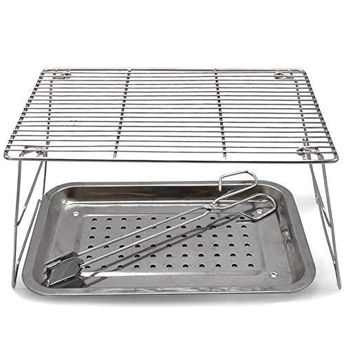 LHQ-HQ Mesa plegable parrilla portátil estufa pequeña Ligera Carbón de leña Parrilla de acero inoxidable for cocinar al aire libre que acampa yendo de días de campo chupar rueda con mochila Kabob Yaki