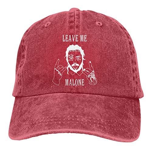 Po-st Malo-ne Lea-ve Me a-Lone Music Poster Cotton Adjustable Dad Hats Graphic Denim Snapback Caps for Men Women Red