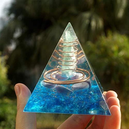 Natural Pirámide de orgonita Pilar de fluorita Verde Círculo de energía de...