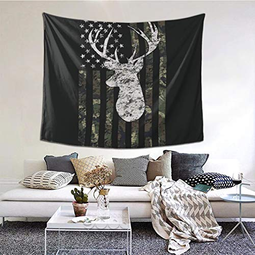 Mooneyenton Deer Camo Camouflage American Flag Hunting Wall Blanket Home Decor for Bedroom College Dorm, (51x60 Inches)