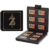 Etui kompatibel Für Nintendo Switch,Tragbar & Dünn, Schutzhülle Aufbewahrungsbox Spiele Cards Tasche,mit 12 Spiele Schlüssel + 12 TF Schlüssel (Zelda/Black)