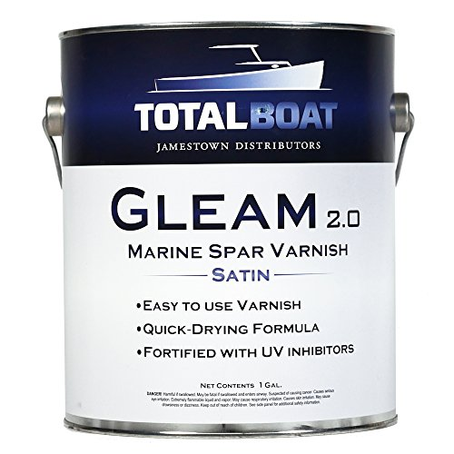 TotalBoat Gleam Marine Spar Varnish, Gloss and Satin Polyurethane Finish for Wood, Boats and Outdoor Furniture (Satin Low-Sheen Gallon)