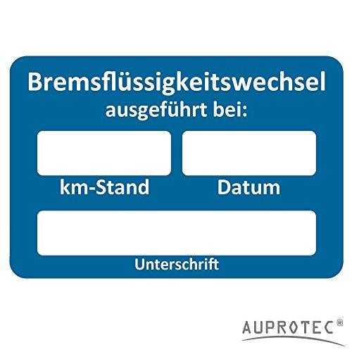 AUPROTEC Kundendienst Aufkleber Werkstatt Serviceaufkleber Auswahl: 250 Stück, Bremsflüssigkeitswechsel ausgeführt am