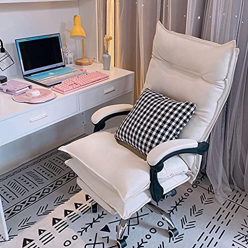 HQBL Weißer PU-Leder-Schreibtischstuhl für Studium und Büro,Ergonomische,Bequeme Computerstühle mit hoher Rückenlehne und Lendenwirbelstütze,Geeignet für sitzende Menschen,um die Sitzhaltung zu korr