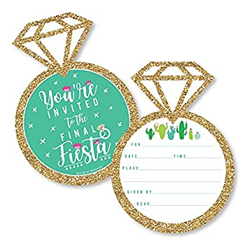 Big Dot of Happiness Final Fiesta - Shaped Fill-In Invitations - Last Fiesta Bachelorette Party Invitation Cards with Envelopes - Set of 12