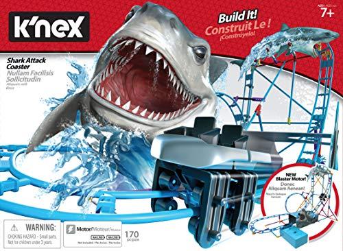 K'Nex 34041 BAU-und Konstruktionsspielzeug Set Shark Coaster, STEM Baukasten, Konstruktionsset für Achterbahn mit Hai Attacke, Bauset mit 174 Teilen, Spielset Fuer Kinder ab 7 Jahre, Mehrfarbig