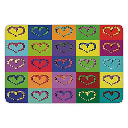 Bathroom Bath Rug Kitchen Floor Mat Carpet,Art,Warholesque Vivid Hearts in Colorful Squares Pop Art Inspired Artwork Sixties Retro Decorative,Multicolor,Flannel Microfiber Non-slip Soft Absorbent