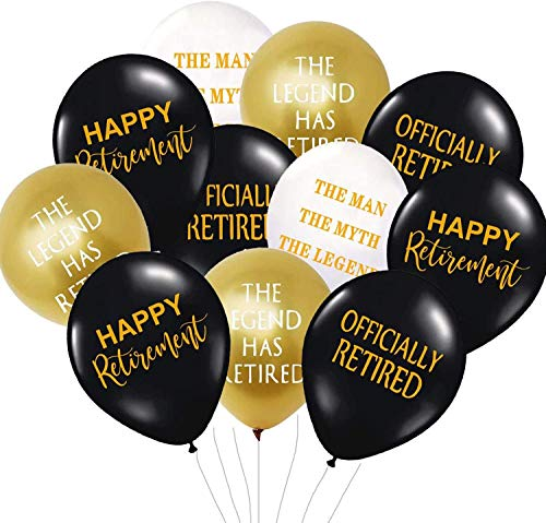 40 Pieces Retirement Party Decorations,Happy Retirement Funny Balloons White Gold and Black Officially Retired Balloons for Retirement Party Supplies