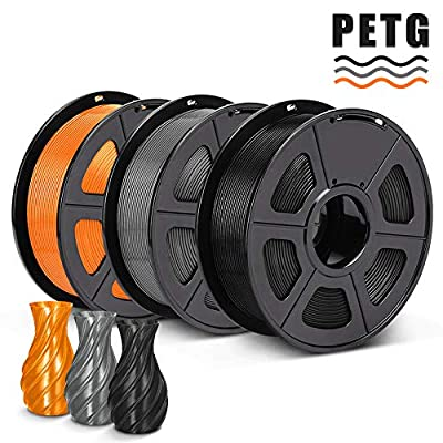SUNLU PETG 3D Printer Filament, Dimensional Accuracy +/- 0.02 mm, 3kg, 1.75 mm, Black+Grey+Orange