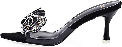 Arc Strass Chaussures Paresseux rosée Se réfère réfère réfère à Demi-Pantoufles Mode Estivale Fine Talons Hauts Porter des Sandales et Pantoufles (Couleur   noir, Taille   36) 3d9