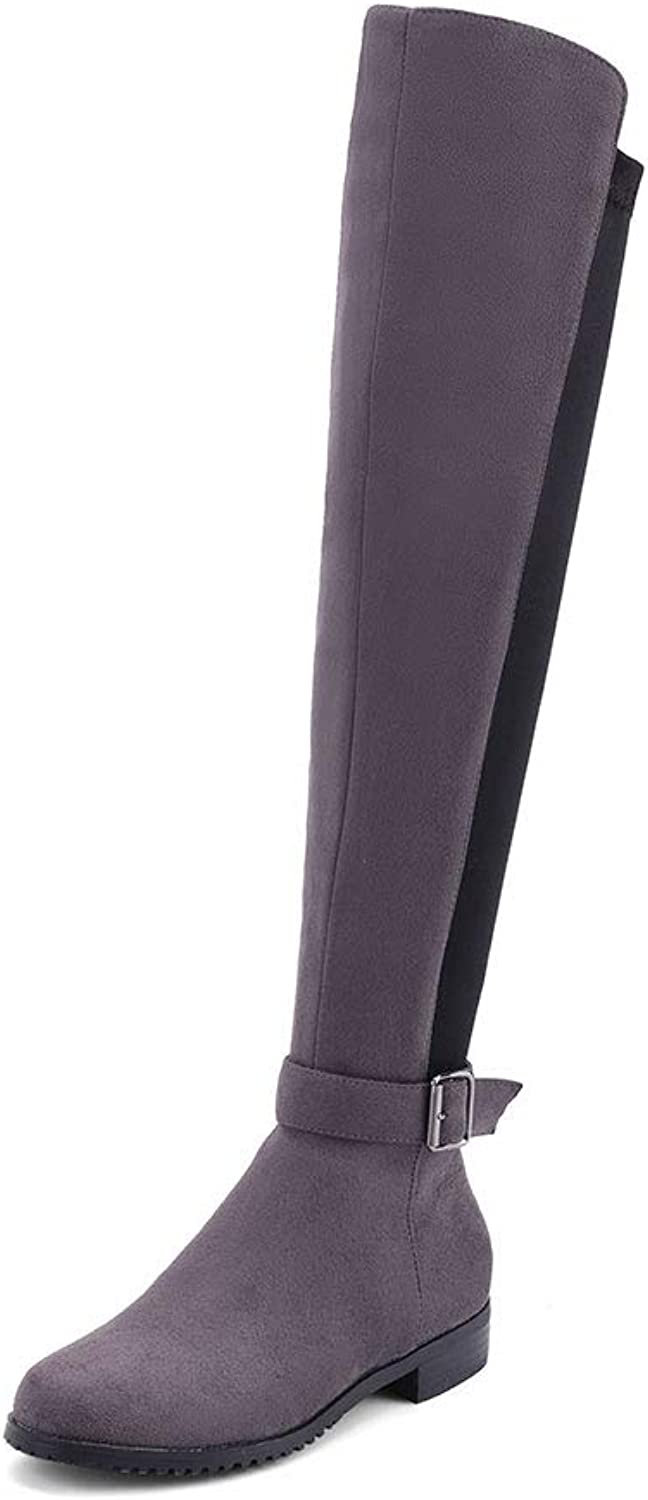 T-JULY Knee High Boots for Women Chunky Heel Autumn Winter shoes Buckle Footwear Ladies Riding Big Size 34-43
