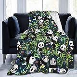 Manta de Felpa Suave Cama Panda Jugando con Hojas de bambú Manta Gruesa y Esponjosa Microfibra, Suave, Caliente, Transpirable para Hogar Sofá , Oficina, Viaje