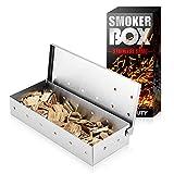 DOCOO Caja de ahumado de acero inoxidable para barbacoa, caja ahumadora para un gran aroma al asar – para barbacoas de bola, carbón y gas