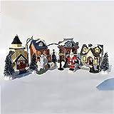 KOUBE Christmas Village, Resin Christmas House with Led Light Up, DIY Christmas Village Set Village Houses Figurines Battery Operated10 Pcs