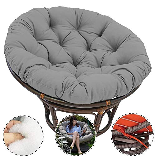CDKET Round Hanging Egg Chair Pads Thicken for with Ties Chair Seat Cushioning Papasan Chair Cushion Solid Color Indoor Outdoor Soft-100100cm Gray