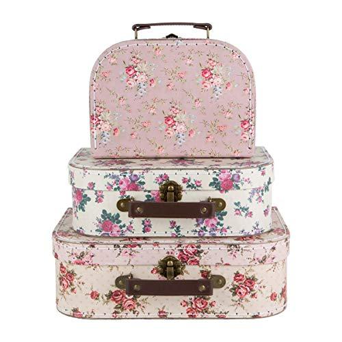 Koffer in 3-delige set, vintage, met rozen, opbergdozen