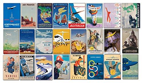 Lot de 24 étiquettes à Bagages Rétro - Compagnies Aériennes Européennes - pour Valise