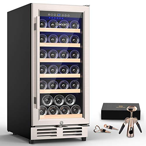 MOOSOO 15 Inch Built-in Wine Cooler, 30 Bottles Constant Temperature Wine...