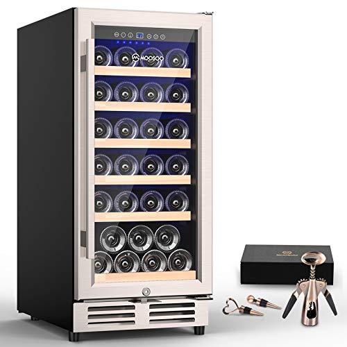 MOOSOO 15 Inch Built-in Wine Cooler, 30 Bottles Constant Temperature Wine...
