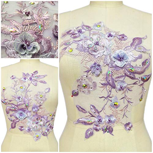 Aplique de encaje bordado con perlas y diamantes de imitación en 3D, diseño de costura de forro de tela para blusa, accesorios para vestido de novia (color B)