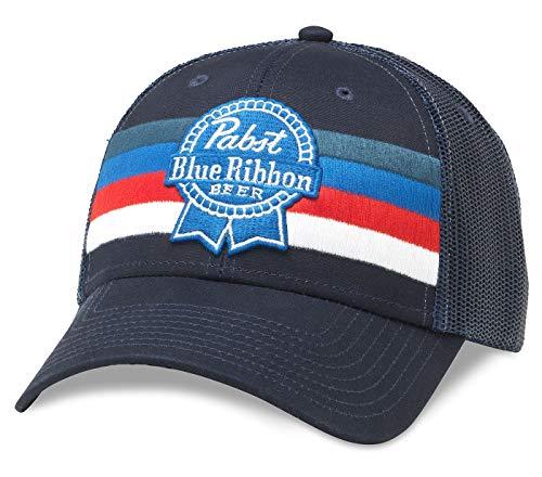 Pabst Blue Ribbon Pbr Birra Striped Hat Snapback Adjustable Royal Navy
