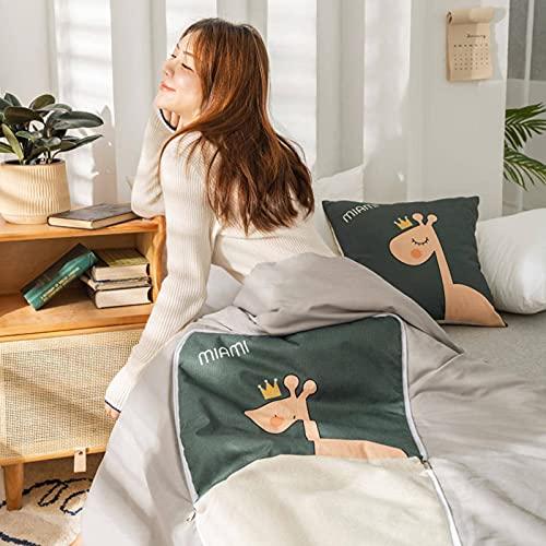 Edredón de lino cepillado, almohada de doble uso, sofá de casa y manta de siesta de oficina para oficina, avión, hogar, viajes