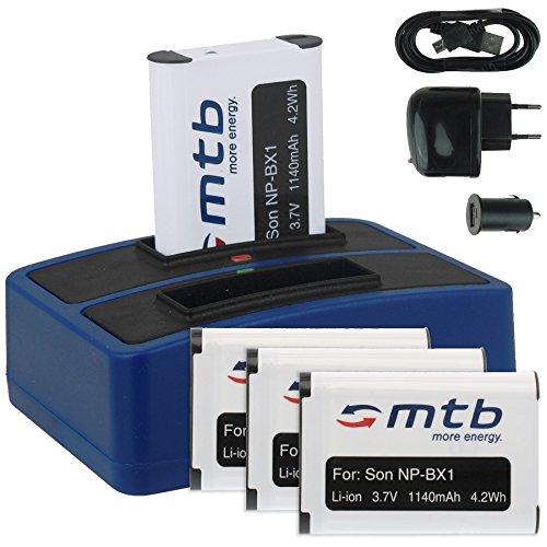 4x Batteria + Caricabatteria doppio (USB/Auto/Corrente) compatibile con Sony NP-BX1 / Sony Action Cam FDR-X3000(R), X1000V / HDR-AS200V, AS100V, AS50, AS30(V). v. lista!