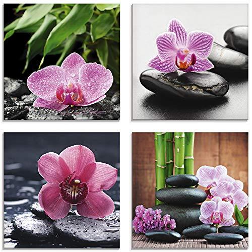 Artland Glasbilder Wandbild Glas Bild Set 4 teilig je 30x30 cm Quadratisch Asien Wellness Zen Pflanzen Blumen Orchideen Steine Entspannung S6MH
