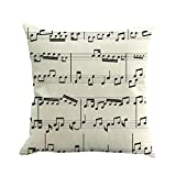XuanhaFU Fundas cojín de Almohadas de Lino para el sofá Juego de 1 45x45cm Elemento de Nota Musical Serie (F)