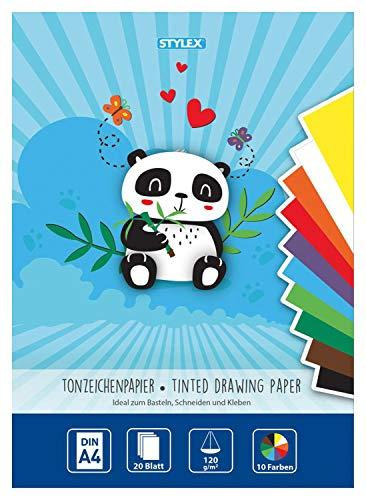 Stylex 46723 - Tonzeichenpapier, DIN A4, 120 g/m², 20 Blatt sortiert in 10 verschiedenen Farben, zum Basteln, Schneiden und Kleben