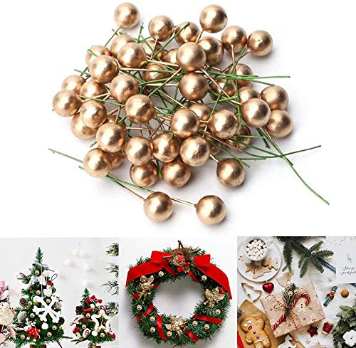 200PCS Christmas Holly Berries Mini Xmas Artificial Berries Gold Fake Berry Flower for Christmas Tree Decorations Wreath Making Supplies Christmas Party Decoration
