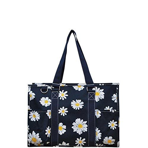 N. Gil All Purpose Organizer 18' Large Utility Tote Bag (Daisy Navy Blue)
