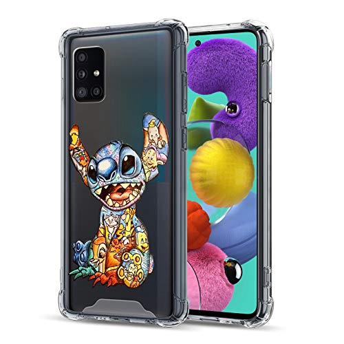 DISNEY COLLECTION Crystal Clear Designed for Samsung Galaxy A51 Case, Colorful Stitch PC + Soft TPU Ultra-Thin Shockproof Transparent Bumper Protective Cover Case for Samsung Galaxy A51 6.5 Inch 2020