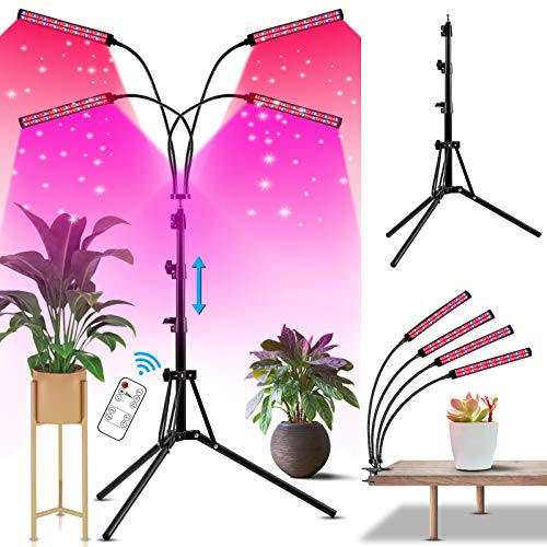 Grow Lights for Indoor Plants, 4 Head 192 Led UV/IR/Red/Blue Full Spectrum Grow Light with Stand & Clip, Grow Lights for Seed Starting, 4/8/12 H Timer, Flexible Gooseneck, Adjustable Tripod Stand