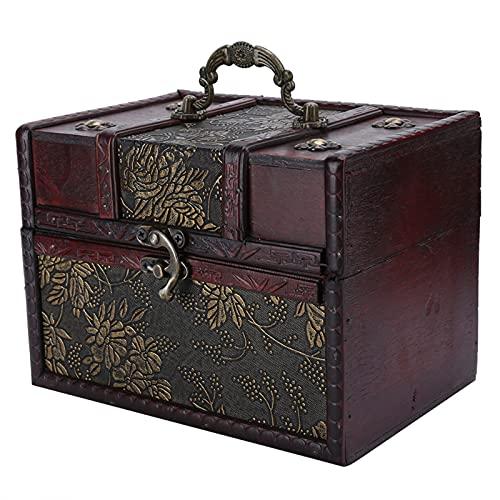Kudoo Boîte de Rangement en Bois, Coffre au Trésor Boîtes à Bijoux Vintage, Boîte de Rangement Décorative Malle en Bois Boîte Cadeau pour Jouets, Outils, Documents et Objets(4#)