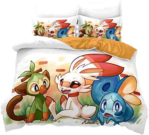 AQEWXBB Juego de ropa de cama con impresión digital 3D, diseño de Pokémon, supersuave y cómodo, juego de ropa de cama de alta calidad Pokémon para niños (Pokémon 3,135 x 200 cm + 80 x 80 cm x 2)