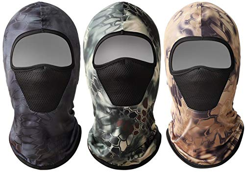 Biruil Balaclava Face Mask Full Face Cover Motorcycle Breathable Outdoor Neck Gaiter Scarf Bandana (3 Pack YT Camouflage)