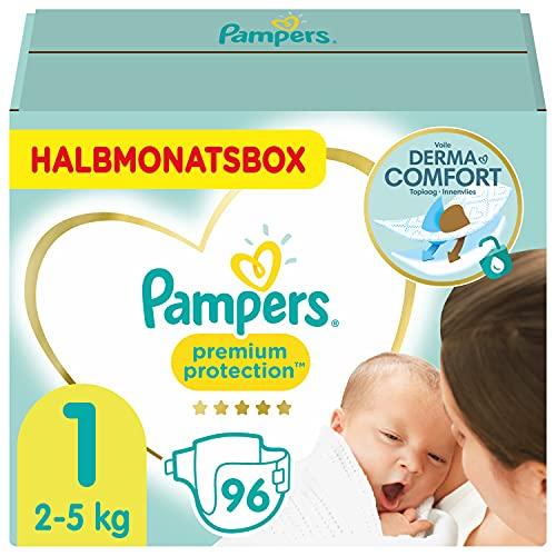 Pampers Baby Windeln Größe 1 (2-5kg) Premium Protection, 96 Stück, HALBMONATSBOX, Pampers Weichster Komfort Und Schutz